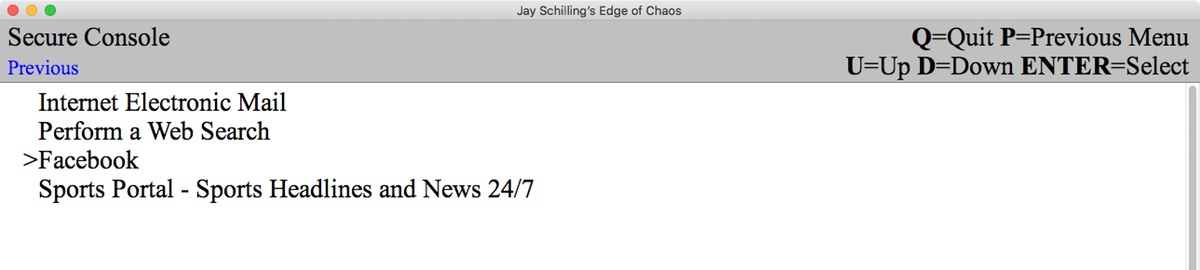 Jay Schillings Edge of Chaos: console